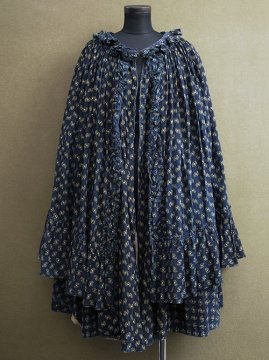 19th - early 20th c. printed indigo cape