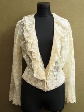 early 20th c. cream lace blouse L/SL