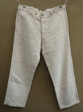 late 19th - early 20th c. herringbone linen work trousers
