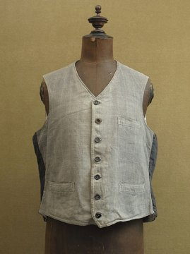 cir. 1930's gray checked cotton work gilet