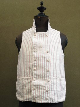 19th c. red striped double-breasted gilet