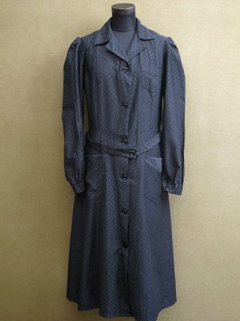 cir. 1930's printed cotton work dress / coat