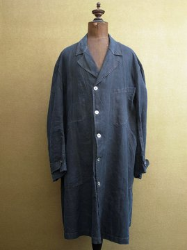 cir. 1930's indigo linen maquignon work coat