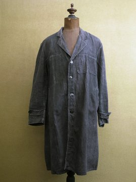 mid 20th c. black linen maquignon work coat