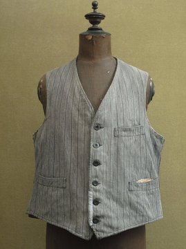 cir. 1930's striped gray cotton work gilet