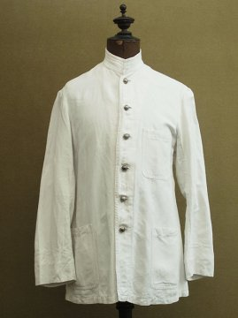 cir. 1930-1940's white cotton stand collar jacket