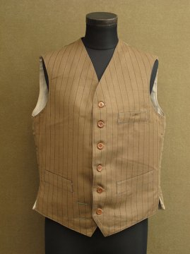 cir.1930's striped cotton gilet dead stock