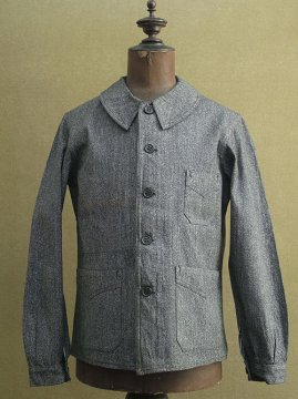 cir. 1930-1940's salt&pepper cotton work jacket dead stock