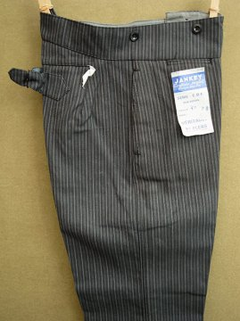 cir. 1940's gray striped cotton work trousers
