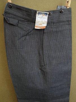 cir. 1940's salt&pepper striped cotton work trousers dead stock