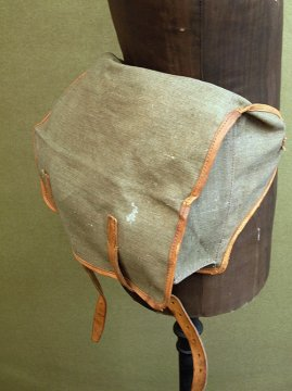 mid 20th c. French military linen waist bag