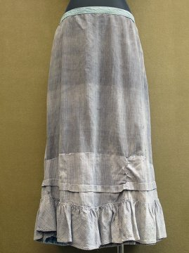 early 20th c. gray striped cotton skirt