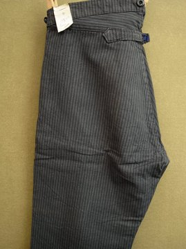 1930-1940's striped cotton work trousers dead stock