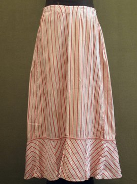 ~1900's pink striped cotton skirt