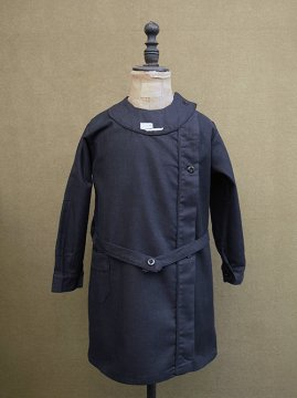 1940's black cotton kids' dress/coat dead stock