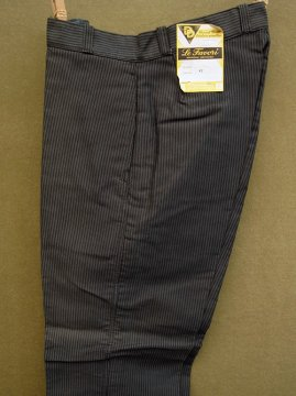 1940-1950's gray striped moleskin work trousers dead stock