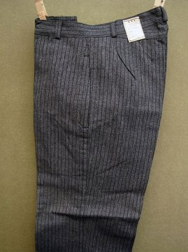 1940-1950's gray striped cotton work trousers dead stock