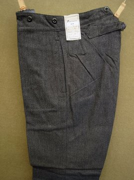 1940's gray herringbone cotton work trousers dead stock