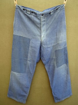 1940's patched blue cotton work trousers