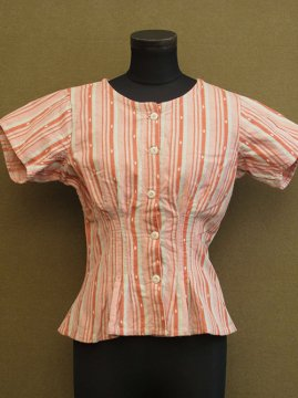 early 20th c. pink striped S/SL blouse