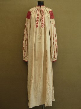 cir. early 20th c. embroidered linen long dress