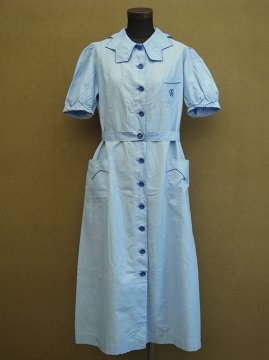 1930-1940's blue dress S/SL
