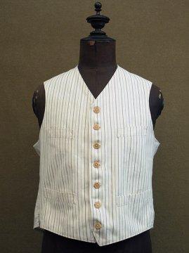 1930-1940's striped white cotton gilet