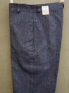 cir. 1940-1950's striped cotton herringbone trousers dead stock