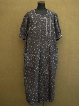 1930's printed black work dress S/SL