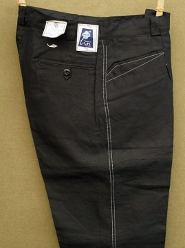 ~mid 20th c.black linen work trousers dead stock