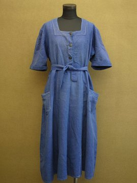 cir.1930's printed blue cotton S/SL dress