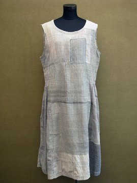 cir.1930's gray check cotton N/SL dress