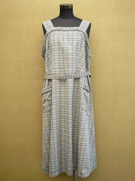 mid 20th c. checked N/SL apron dress