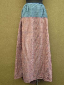 19th c. indigo × red striped skirt