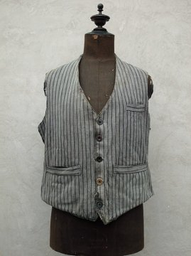 cir. 1940's striped cotton work gilet