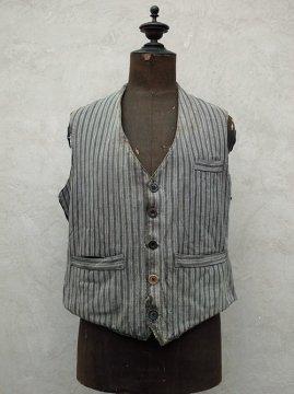 cir. 1940's striped cotton work gilet