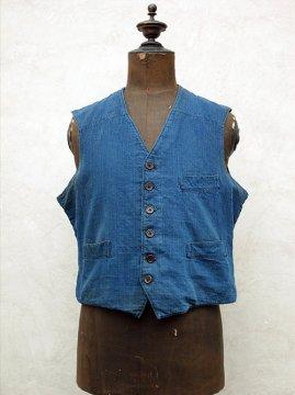 cir.1930-1940's indigo herringbone linen × cotton work gilet