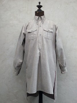 cir.1930-1940's striped cotton button-down shirt dead stock