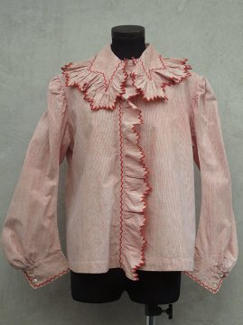 early 20th c. red striped cotton blouse
