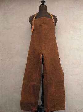 brown canvas apron over pants