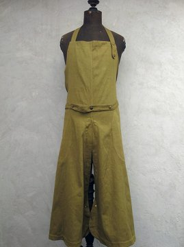 cir.1940's olive cotton apron over pants