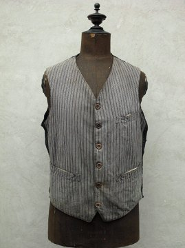1930's gray striped cotton gilet