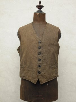 1930's brown cotton hunting gilet