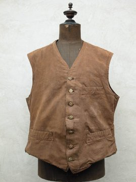 ~1930's brown canvas gilet