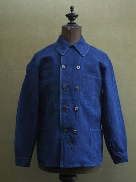 1930-1940's double breasted indigo linen work jacket