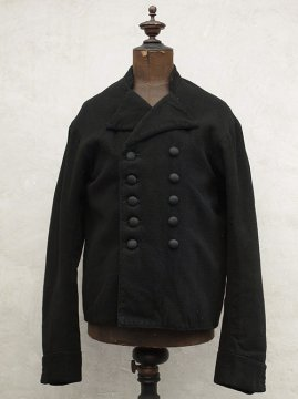 cir. early 20th c. black wool double breasted work jacket