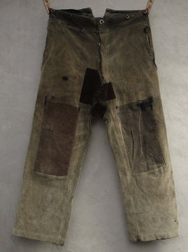 cir.1930's patched brown cord work trousers