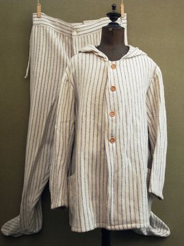 cir. late 19th c. striped flannel set-up for night