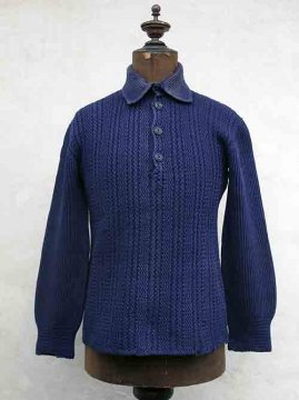 ~1930's kintted navy wool pullover top