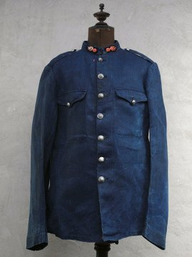 late 19th - early 20th c. indigo herringbone linen firefighter jacket